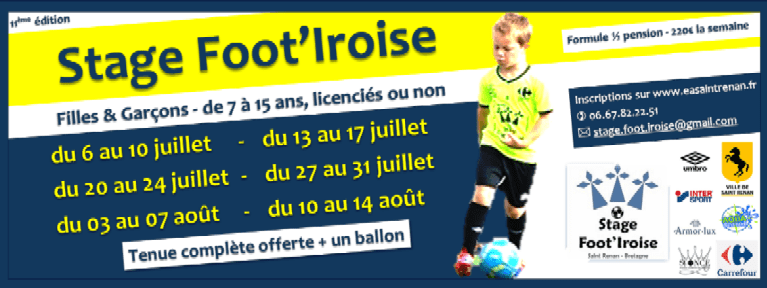 Inscription Stage Foot'Iroise 2020